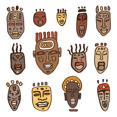 African Masks set. Ethnic Hand Drawn vector illustration.