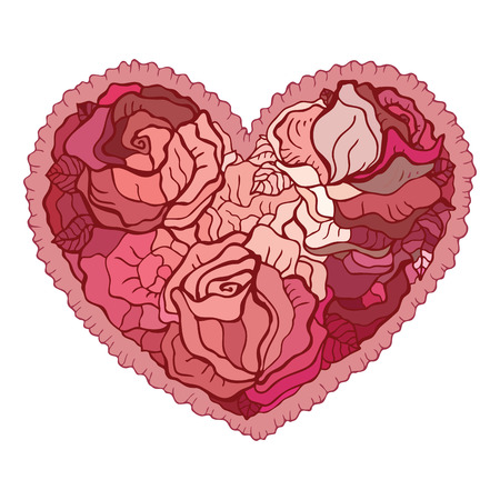 Heart of roses. Valentine Greeting card. Hand drawn vector illustration. Vector