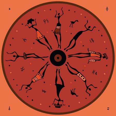 danza africana: Las figuras de bailarines africanos. Ilustración vectorial.