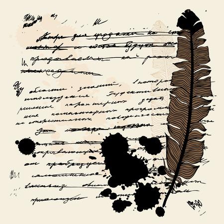 schreibkr u00c3 u00a4fte: Vintage Hand gezeichnet Hintergrund. Feather Vektortext.