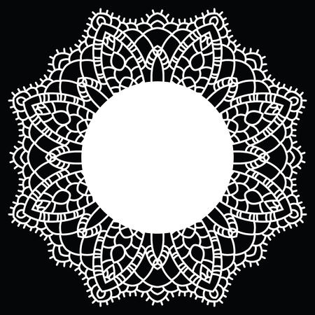 Vintage Handmade Knitted Doily Round Lace Pattern Vector