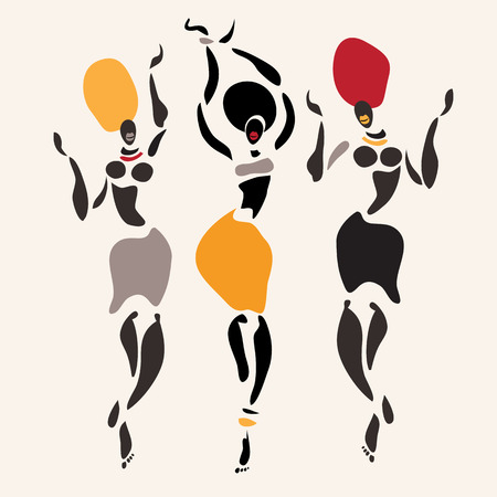 Figures of african dancers Illustration   イラスト・ベクター素材