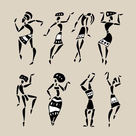 tribal dance: Figures of african dancers