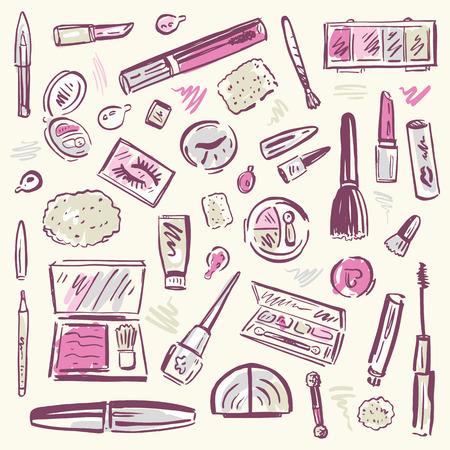 make up woman: Makeup products set Illustration  Illustration