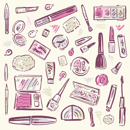 Makeup products set Illustration  Illustration