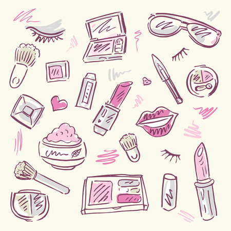 Makeup products set Illustration  Vector
