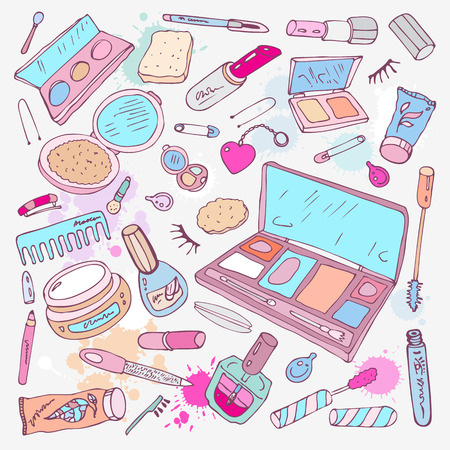 lipstick tube: Makeup products set  Hand drawn Vector Illustration