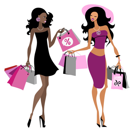 Women with shopping bags illustration Vector