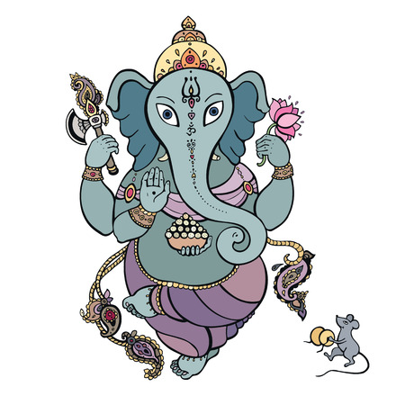 Hindu God Ganesha  Vector hand drawn illustration  Vector