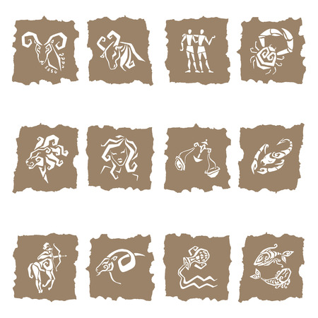 Horoscope  Twelve symbols of the zodiac signs  Vector
