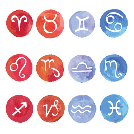 Watercolor  Horoscope Zodiac Star signs, vector set