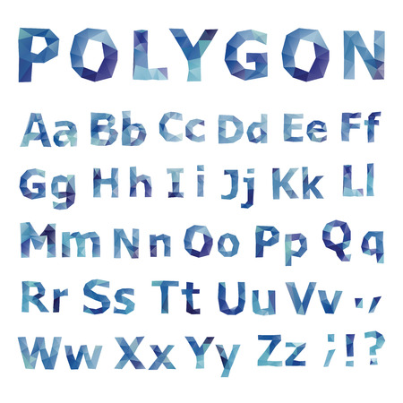 Alphabet  Polygonal font set  Geometrical style  Vector illustration  Illustration