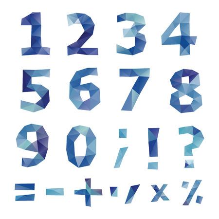 Polygonal number set  Geometrical style  Vector illustration  Vector