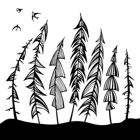forest wood: Vintage forest set  Hand drawn vector illustration  Design element  Illustration