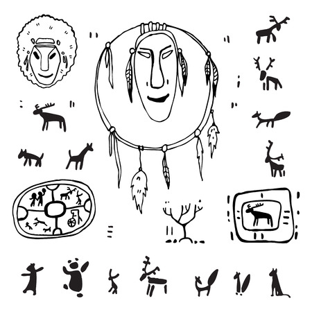 Siberia  Primitive painting set  Hand drawn vector illustration  Design element  Vector