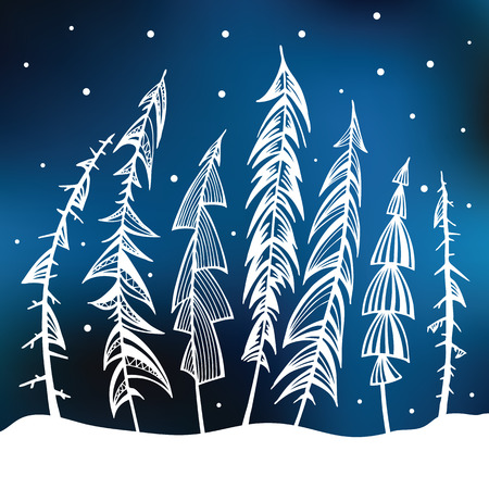 conifers: Winter background  Night forest  Hand drawn vector illustration