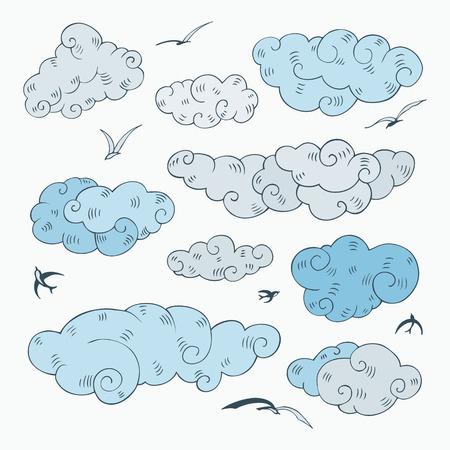 Vintage clouds set  Hand drawn vector illustration  Design element  Vector