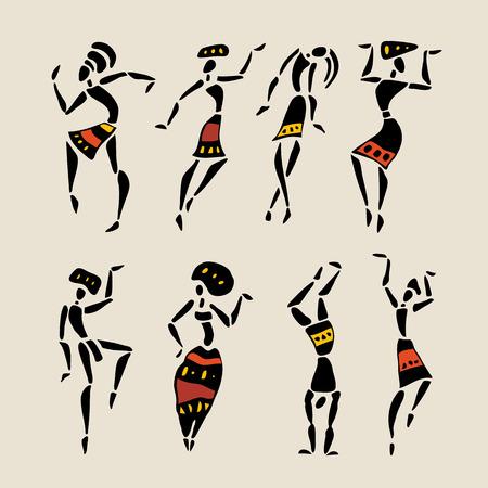 Figuras del africano bailarines Personas silueta ilustración vectorial conjunto
