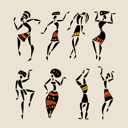 Figures of african dancers  People silhouette set  Vector  Illustration  Vector