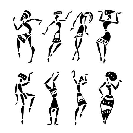 Figures of african dancers  People silhouette set  Vector  Illustration  Illustration