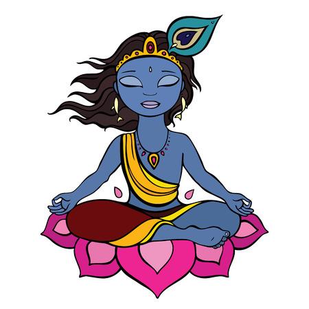 krishna: Hindoe god Krishna Vector hand getrokken illustratie Stock Illustratie