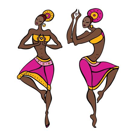 Dibujado Hermosa bailarina de danza asiática Etno mano ilustración vectorial