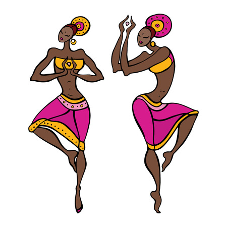 danza africana: Dibujado Hermosa bailarina de danza asiática Etno mano ilustración vectorial
