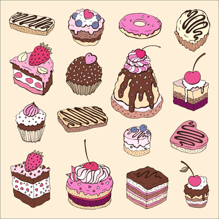 raspberry pink: Set of cute cake  Multicolored Vector illustration