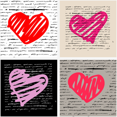 Heart design elements  Love  Handwriting vector background  Vector