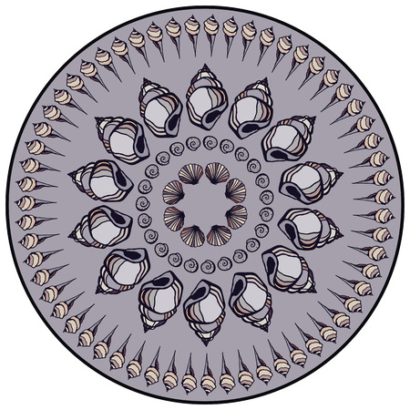 Mandala made of Seashells  Vector decorative background  Vector