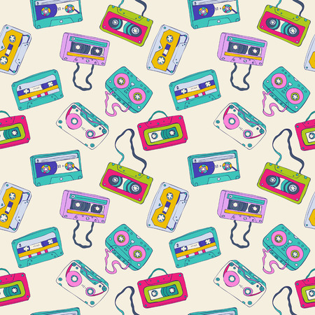 cassette: Seamless pattern of cassette tapes. Vector background.