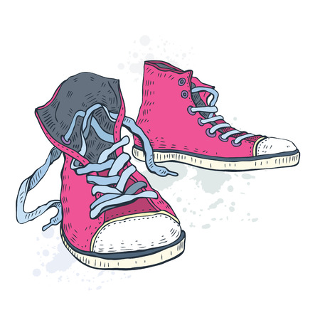 shoes vector: Sport shoes. Sneakers. Hand drawn Vector illustration. Illustration
