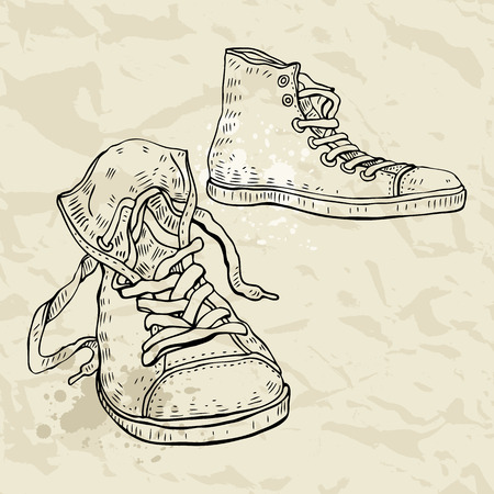 Sport shoes. Sneakers. Hand drawn Vector illustration. Vector