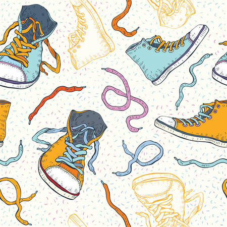 Sport shoes  Sneakers  Hand drawn Seamless Vector  Vector