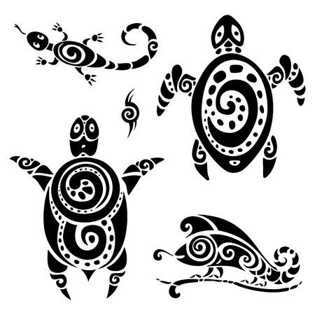 jaszczurka: Żółw. Polinezyjski tatuaż. Set tribal wzór. Ilustracji wektorowych.