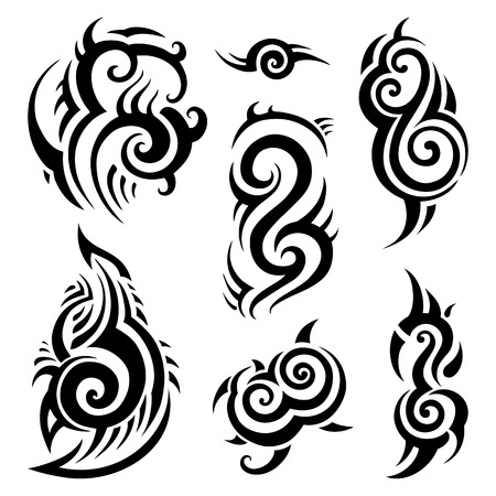 폴리 네 시안 문신. 부족의 패턴을 설정합니다. 벡터 일러스트 레이 션. 일러스트