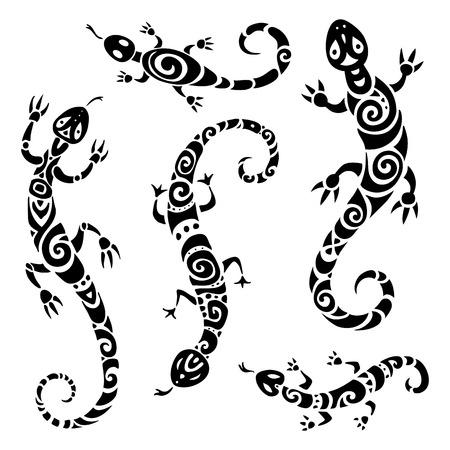 lagartija: lagarto. Tatuaje polinesio. Conjunto de patrón tribal. Ilustración del vector.