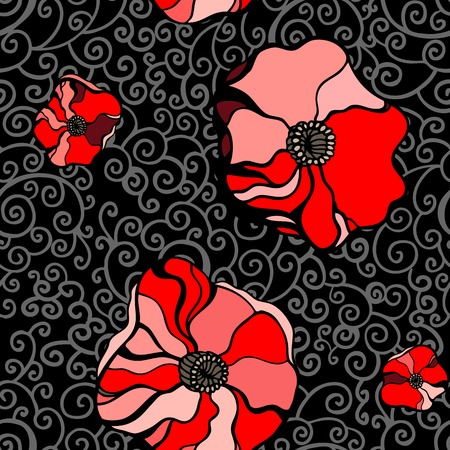 Abstract Red poppies. Seamless pattern vector illustration. Vector