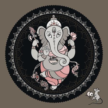 god of wealth: Hindu God Ganesha. Vector hand drawn illustration.