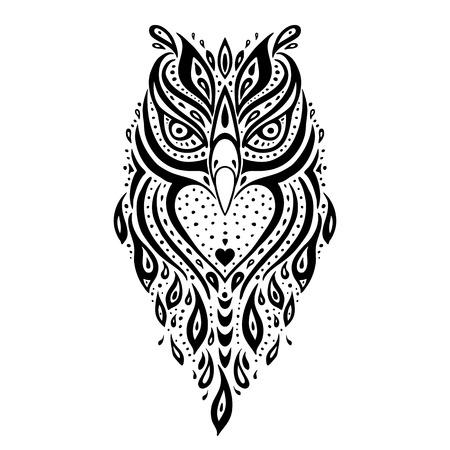 Hibou décoratif. Motif tribal. Tatouage ethnique. Vector illustration.