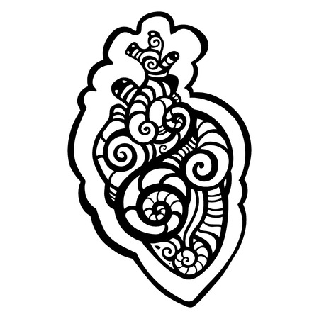 Decorative heart. Tribal pattern. Ethnic tattoo. Vector illustration.