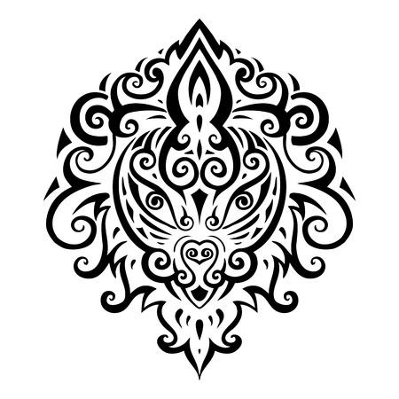 Lion head. Tribal pattern. Ethnic tattoo. Vector illustration. Vector