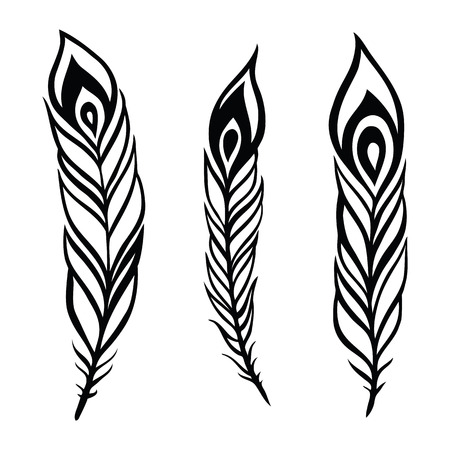 tattoo art: Vintage Feather vector set.