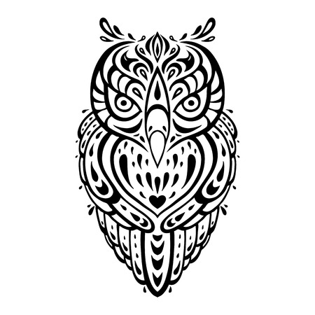 Decorative Owl  Tribal pattern  Ethnic tattoo  Vector illustration  Vector