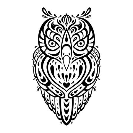 owl illustration: Decorative Owl  Tribal pattern  Ethnic tattoo  Vector illustration
