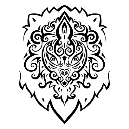 Lion head  Tribal pattern  Ethnic tattoo  Vector illustration  Vector