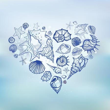 vacances d �t�: Coeur de Coquillages Vacances d'�t� tir�e par la main illustration vectorielle fond de la mer