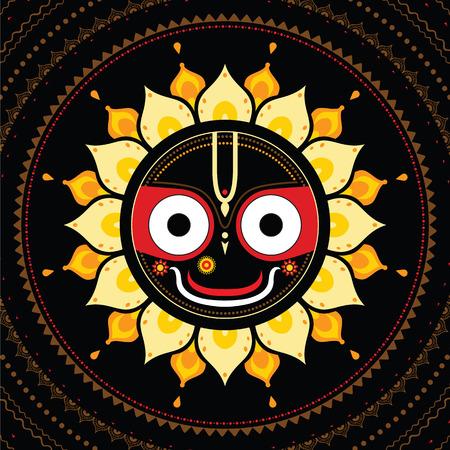 vedic: Jagannath. Indian God of the Universe. Lord Jagannatha. Illustration
