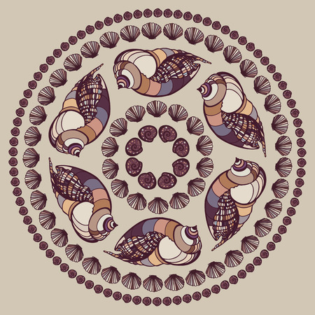 Mandala made of Seashells. Vector decorative background. Vector