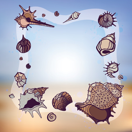 Frame of seashells. Summer Template. Vector illustration. Vector